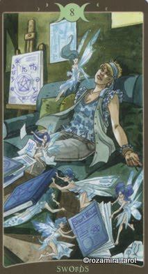 Ý nghĩa lá 8 of Swords trong bộ Book of Shadows Tarot - So Below