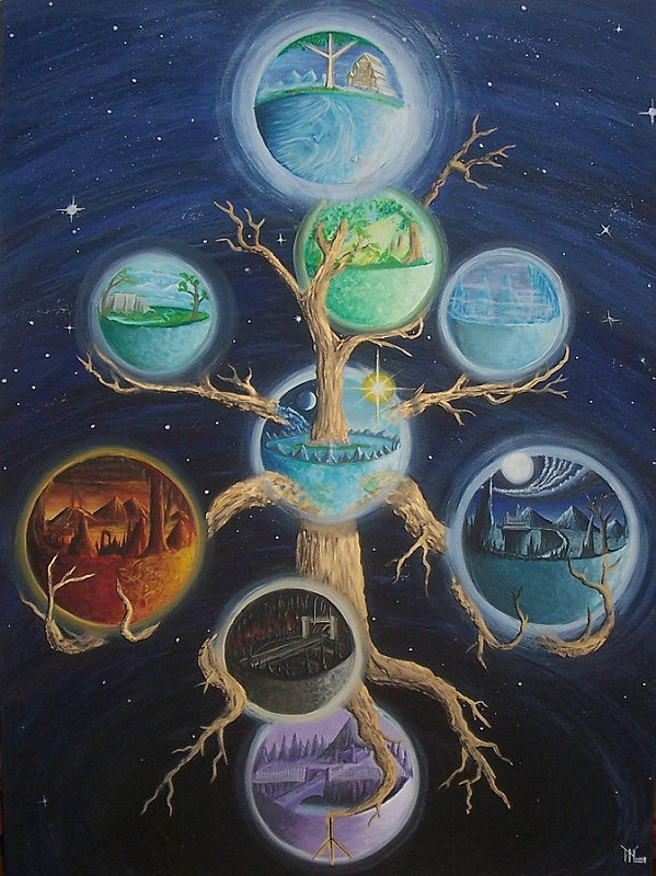 Chín thế giới trên cây Yggdrasil (2008) – tranh của Miroslav Zapletal