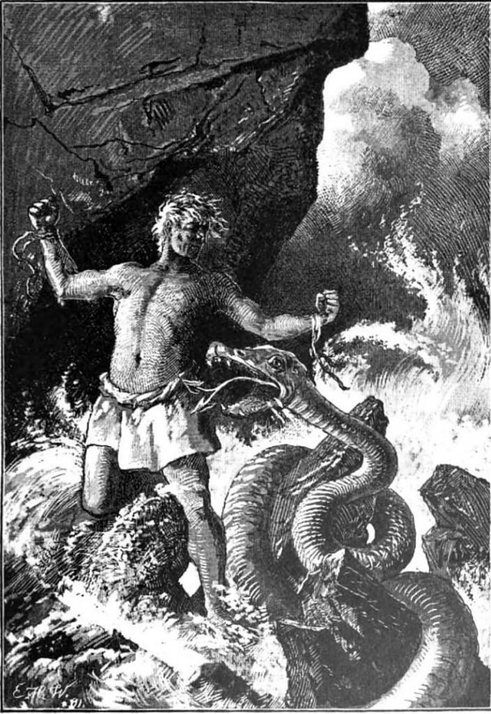 Loki thoát khỏi xiềng xích (1897) – tranh của Ernst Hermann Walther