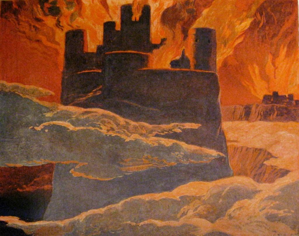 Surtr nổi lửa đốt Ásgarðr (1905) – tranh minh họa của Emil Doepler
