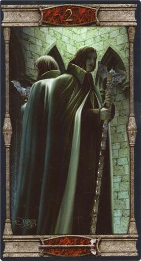 Ý nghĩa lá 2 of Wands trong bộ bài Vampires Tarot of the Eternal Night
