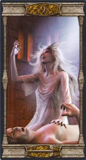 Ý nghĩa lá 9 of Swords trong bộ bài Vampires Tarot of the Eternal Night