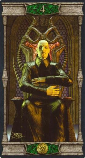 Ý nghĩa lá 4 of Pentacles trong bộ bài Vampires Tarot of the Eternal Night