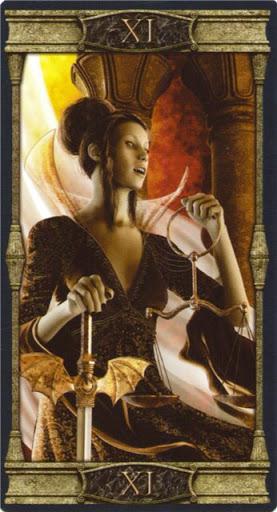 Ý nghĩa lá XI. Justice trong bộ bài Vampires Tarot of the Eternal Night
