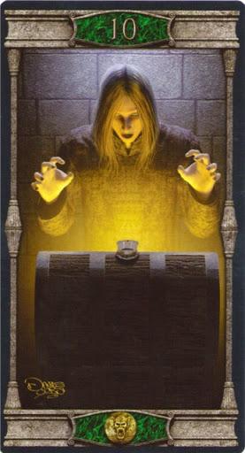 Ý nghĩa lá 10 of Pentacles trong bộ bài Vampires Tarot of the Eternal Night