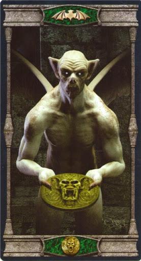Ý nghĩa lá Knave of Pentacles trong bộ bài Vampires Tarot of the Eternal Night
