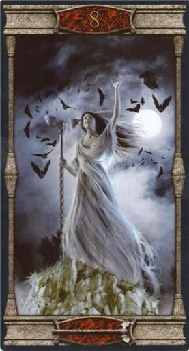 Ý nghĩa lá 8 of Wands trong bộ bài Vampires Tarot of the Eternal Night