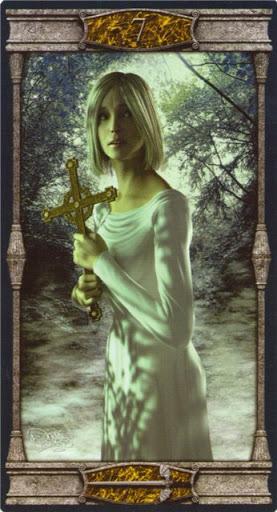 Ý nghĩa lá 7 of Swords trong bộ bài Vampires Tarot of the Eternal Night