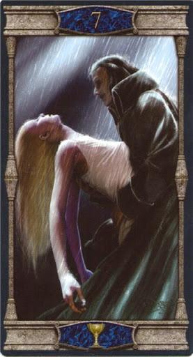 Ý nghĩa lá 7 of Cups trong bộ bài Vampires Tarot of the Eternal Night
