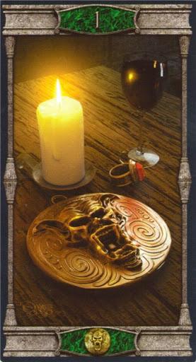 Ý nghĩa lá Ace of Pentacles trong bộ bài Vampires Tarot of the Eternal Night