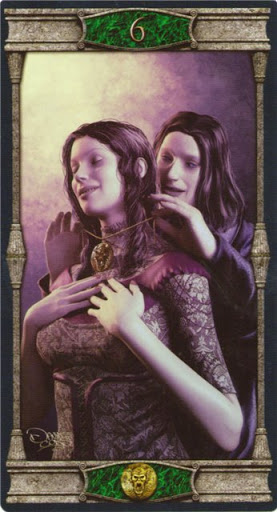 Ý nghĩa lá 6 of Pentacles trong bộ bài Vampires Tarot of the Eternal Night