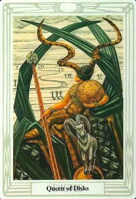 Lá Queen of Disks – Aleister Crowley Thoth Tarot