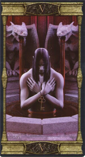 Ý nghĩa lá V. The Hierophant trong bộ bài Vampires Tarot of the Eternal Night