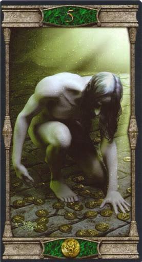 Ý nghĩa lá 5 of Pentacles trong bộ bài Vampires Tarot of the Eternal Night