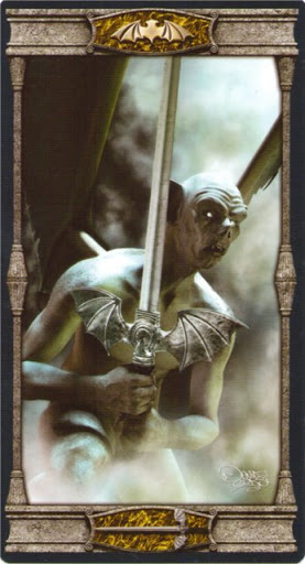 Ý nghĩa lá Knave of Swords trong bộ bài Vampires Tarot of the Eternal Night