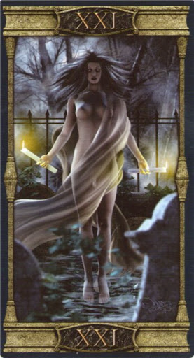 Ý nghĩa lá XXI. The World trong bộ bài Vampires Tarot of the Eternal Night