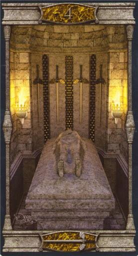 Ý nghĩa lá 4 of Swords trong bộ bài Vampires Tarot of the Eternal Night
