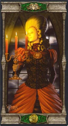 Ý nghĩa lá Queen of Pentacles trong bộ bài Vampires Tarot of the Eternal Night