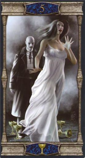 Lá 5 of Cups – Vampires Tarot of the Eternal Night