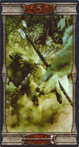 Ý nghĩa lá 5 of Wands trong bộ bài Vampires Tarot of the Eternal Night