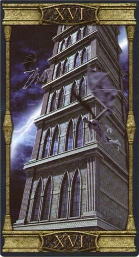 Ý nghĩa lá XVI. The Tower trong bộ bài Vampires Tarot of the Eternal Night