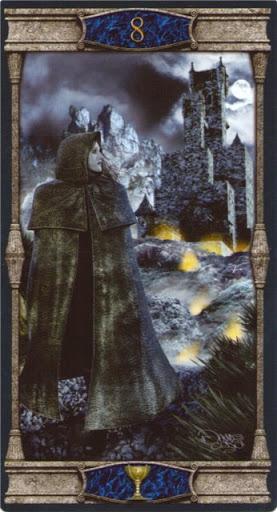 Ý nghĩa lá 8 of Cups trong bộ bài Vampires Tarot of the Eternal Night