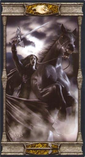 Ý nghĩa lá Knight of Swords trong bộ bài Vampires Tarot of the Eternal Night