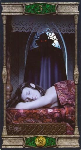 Ý nghĩa lá 3 of Pentacles trong bộ bài Vampires Tarot of the Eternal Night