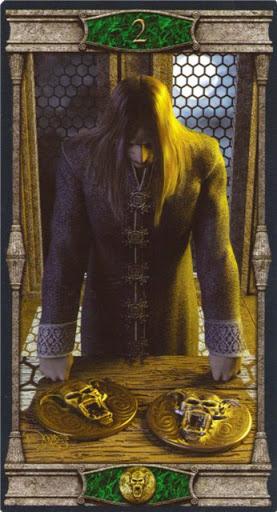 Ý nghĩa lá 2 of Pentacles trong bộ bài Vampires Tarot of the Eternal Night