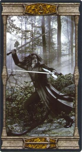 Ý nghĩa lá 2 of Swords trong bộ bài Vampires Tarot of the Eternal Night