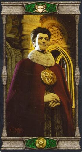 Ý nghĩa lá King of Pentacles trong bộ bài Vampires Tarot of the Eternal Night