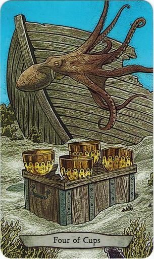 Ý nghĩa lá 4 of Cups trong bộ bài Animal Totem Tarot
