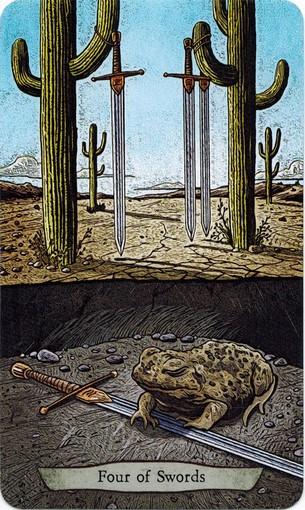 Ý nghĩa lá 4 of Swords trong bộ bài Animal Totem Tarot