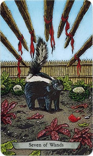 Ý nghĩa lá 7 of Wands trong bộ bài Animal Totem Tarot