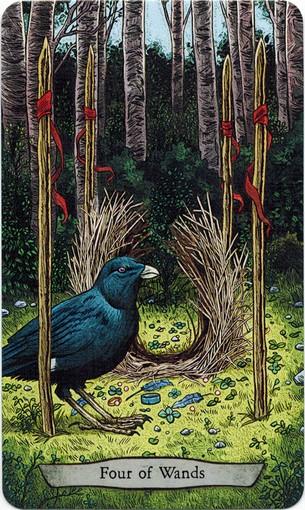 Ý nghĩa lá 4 of Wands trong bộ bài Animal Totem Tarot