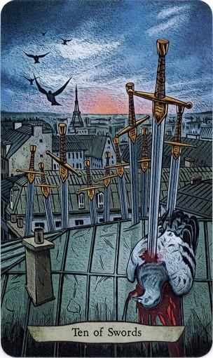 Ý nghĩa lá 10 of Swords trong bộ bài Animal Totem Tarot