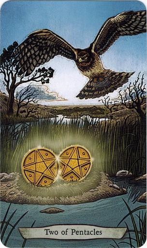 Ý nghĩa lá 2 of Pentacles trong bộ bài Animal Totem Tarot
