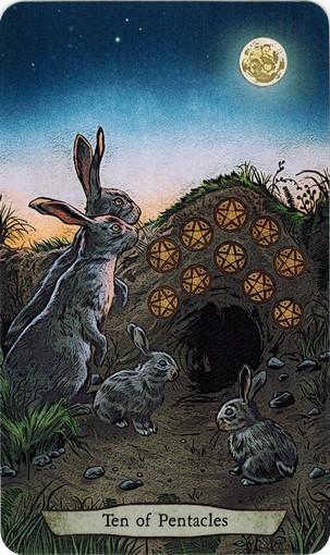 Ý nghĩa lá 10 of Pentacles trong bộ bài Animal Totem Tarot