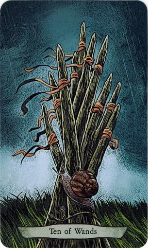 Ý nghĩa lá 10 of Wands trong bộ bài Animal Totem Tarot