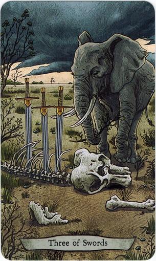 Ý nghĩa lá 3 of Swords trong bộ bài Animal Totem Tarot