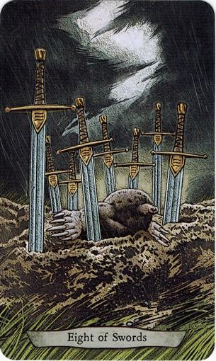 Ý nghĩa lá 8 of Swords trong bộ bài Animal Totem Tarot