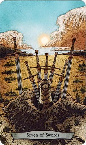 Ý nghĩa lá 7 of Swords trong bộ bài Animal Totem Tarot