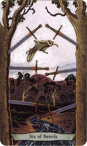 Ý nghĩa lá 6 of Swords trong bộ bài Animal Totem Tarot