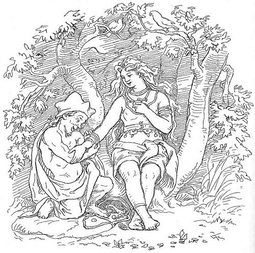 Alvíss và Þrúðr (1895) - tranh minh họa của Lorenz Frølich