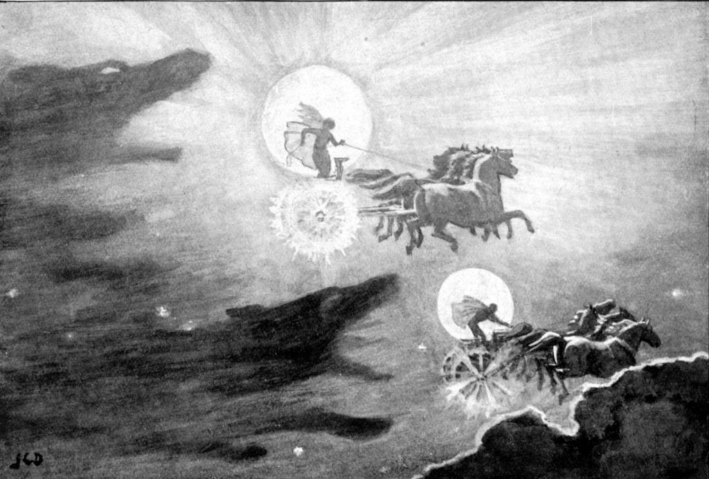 Hai con sói truy đuổi Sól và Máni (1909) – tranh của J.C. Dollman