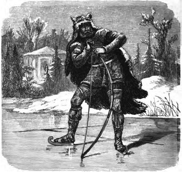 Ullr đứng trên một mặt hồ đã đóng băng tại Ýdalir (1882) - tranh của Friedrich Wilhelm Heine