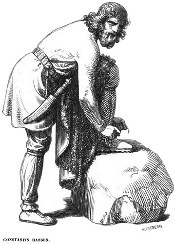 Víðarr buộc dây giày (1854) - tranh của Constantin Hansen