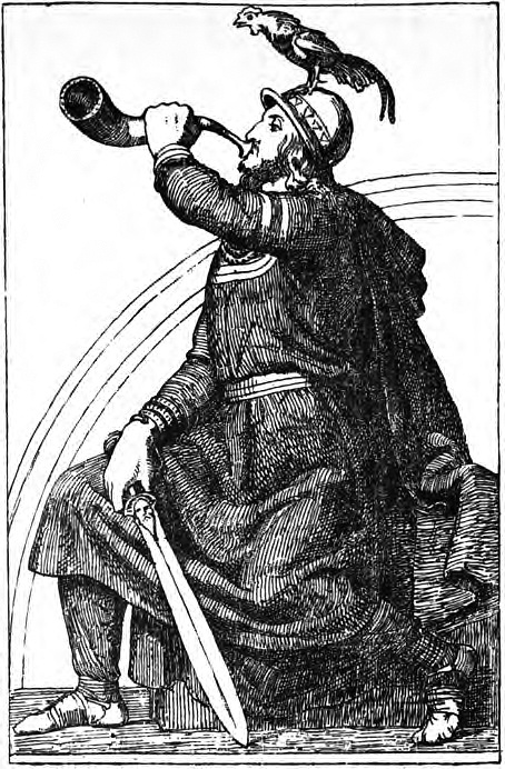 Heimdallr, với gà trống Gullinkambi và thanh gươm Hǫfuð trong tay, thổi Gjallahorn trước cầu vồng Bifröst (1907) - tranh của J.T. Lundbye