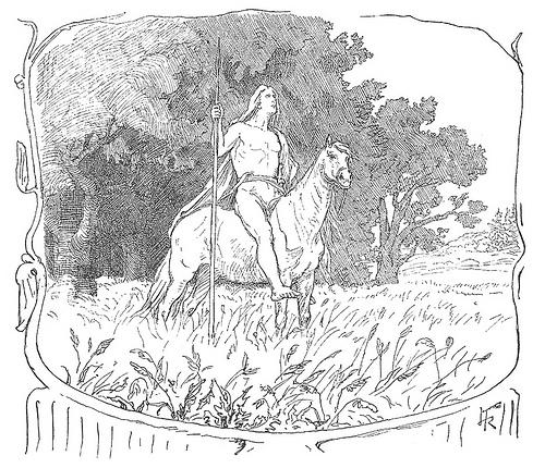 Víðarr trên lưng ngựa (1895) - tranh của Lorenz Frølich