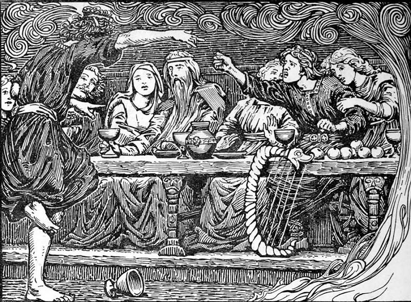 Loki trêu chọc Bragi (1908) – tranh của W.G. Collingwood